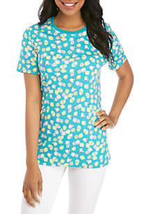 Kim Rogers® Short Sleeve Lemon Print Crew Neck Top