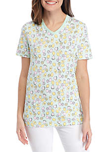Kim Rogers® Short Sleeve V-Neck Lemon Print Top