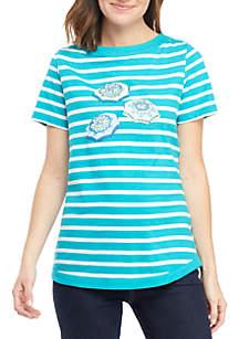 Kim Rogers® Short Sleeve Stripe Graphic Top