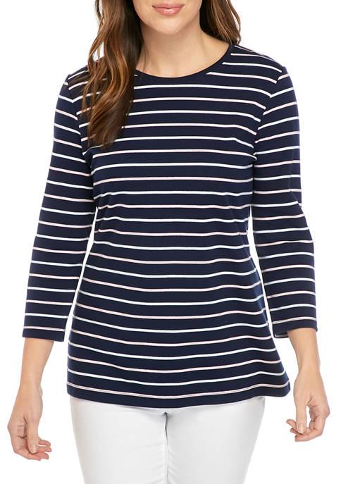 Kim Rogers® Womens Mega Crew Stripe Shirt