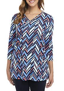 3/4 Sleeve Loop Neck Print Tunic