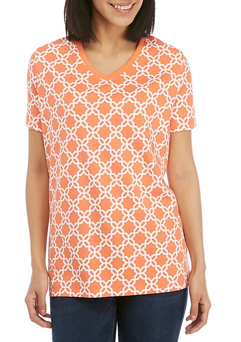 Kim Rogers® Short Sleeve V Neck Geo Print