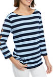 Womens 3/4 Scallop Sleeve Top