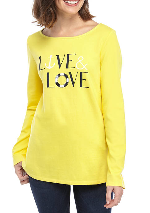 Womens Long Sleeve Graphic Tunic Shirt