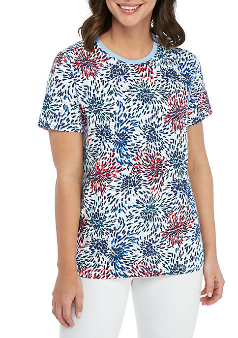 Kim Rogers® Short Sleeve Fresh Burst Printed Top