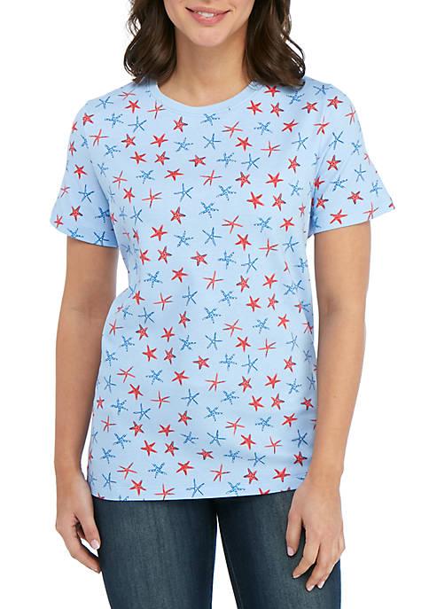 Kim Rogers® Short Sleeve Starfish Print Top