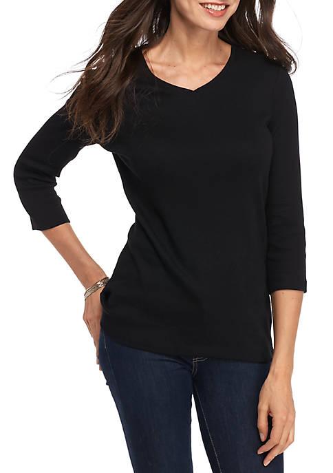 Three-Quarter Sleeve Rib V-Neck Basic Solid Top