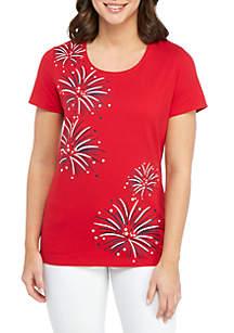 4e3334d343e6 ... Kim Rogers® Short Sleeve Fireworks T Shirt