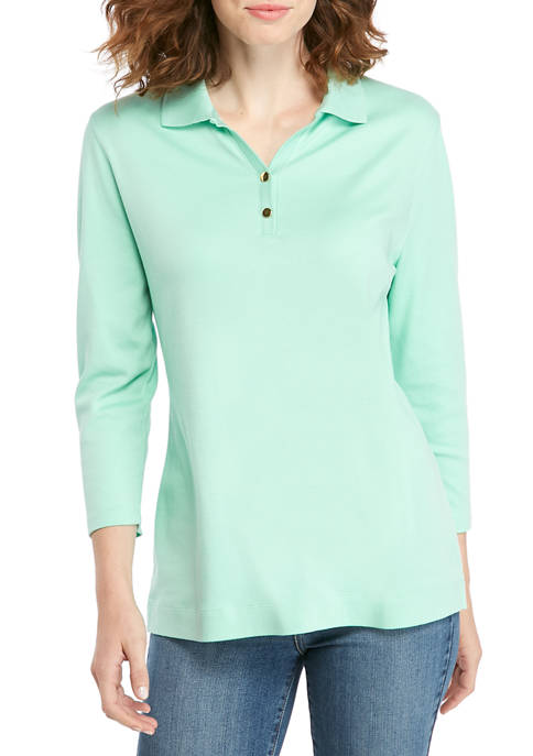 Womens 3/4 Sleeve Polo Shirt