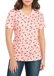 8b000fa9dfe ... Tee · Kim Rogers® Short Sleeve V Neck Cherry Sweet Top