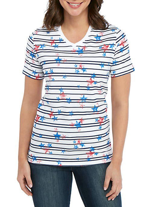 Kim Rogers® Short Sleeve V Neck Star and