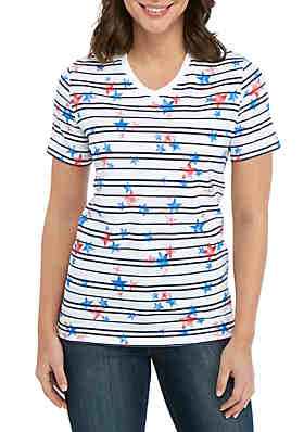 35e71ab054ea Kim Rogers® Short Sleeve V Neck Star and Stripe Top ...