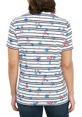 622610e84aa ... Kim Rogers® Short Sleeve V Neck Star and Stripe Top