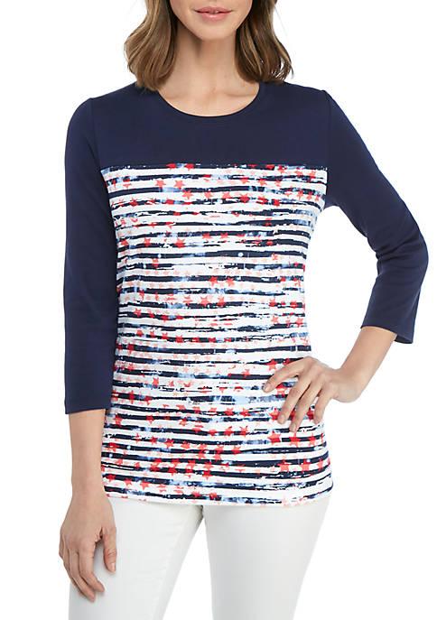 Kim Rogers® 3/4 Sleeve Star Print Top