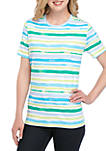 Short Sleeve Bay Side Stripe Print T Shirt