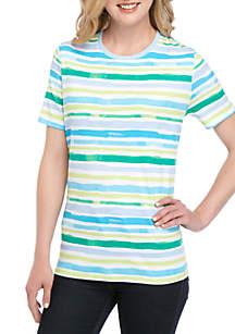 5d73fc02327 ... Kim Rogers® Short Sleeve Bay Side Stripe Print T Shirt