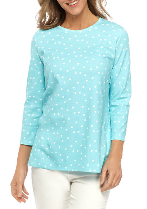 Kim Rogers® Womens Perfectly Soft 3/4 Sleeve Crew