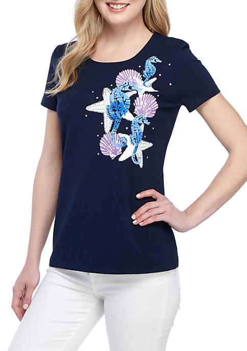 Kim Rogers® Short Sleeve Seahorse T Shirt