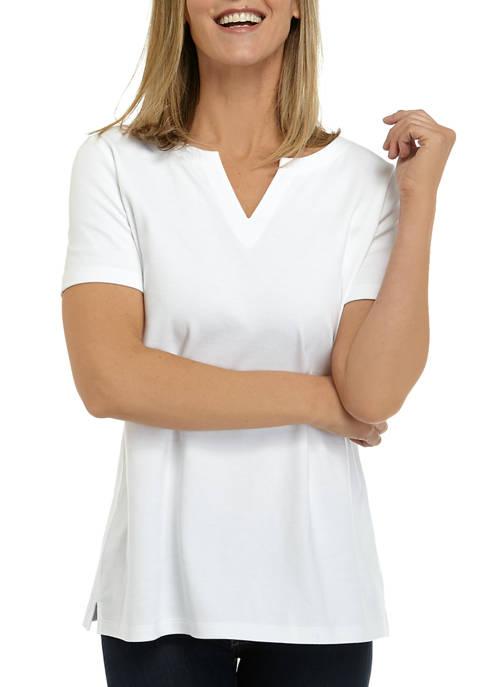 Kim Rogers® Womens Perfectly Soft Short Sleeve Split