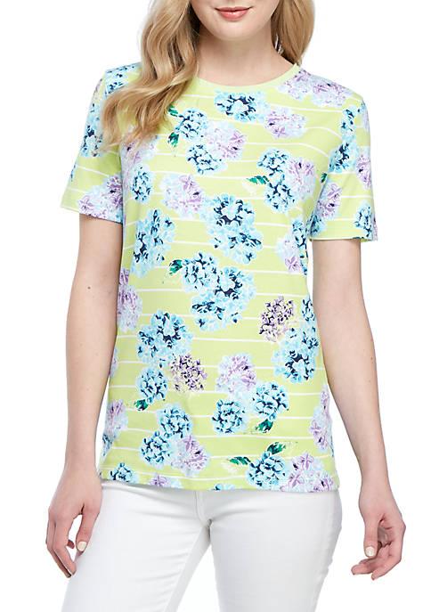 Kim Rogers® Short Sleeve Hydrangea Print Top