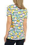 Womens Short Sleeve Split Neck Printed Shirt