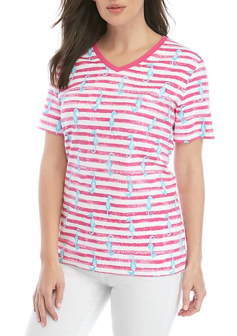 Kim Rogers® Short Sleeve Seahorse Stripe T Shirt