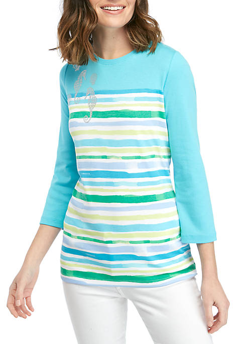 Kim Rogers® 3/4 Sleeve Stripe T Shirt