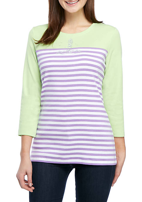 Kim Rogers® Color Block Crew Lighthouse T Shirt