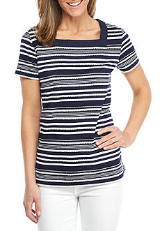 Kim Rogers® Feminine and Classic Short Sleeve Square Neck Top