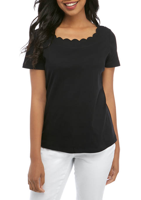 Womens Scalloped Neck Solid Top
