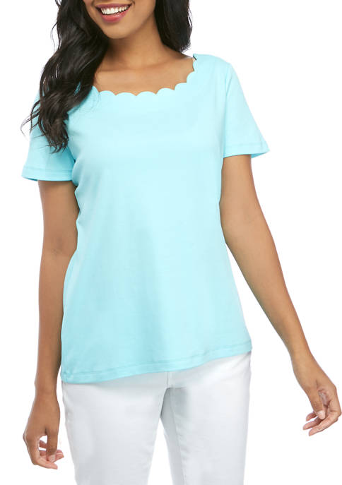 Kim Rogers® Womens Scalloped Neck Solid Top