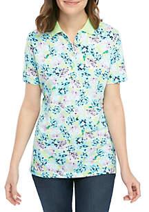 Kim Rogers® Short Sleeve Pique Hydrangea Polo Top