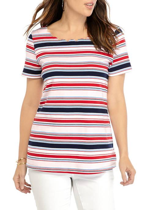Kim Rogers® Womens Short Sleeve Scallop Neck Yarn