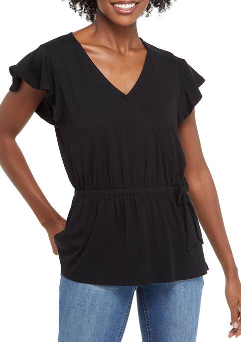Womens Short Sleeve Wrap Top