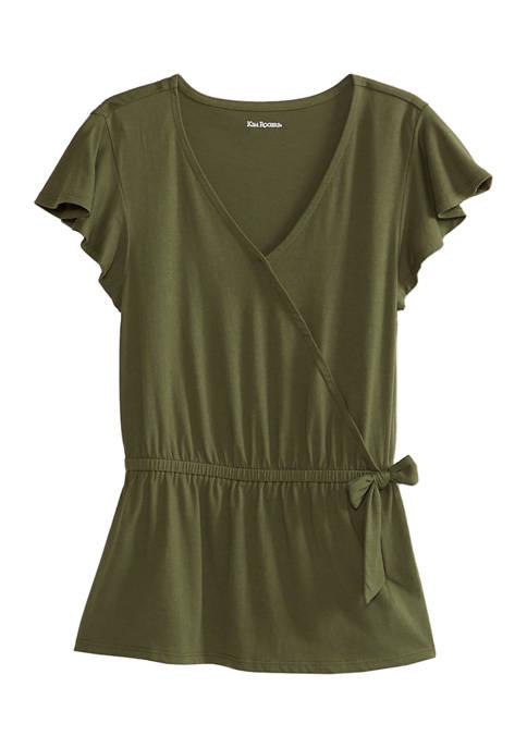 Kim Rogers® Womens Short Sleeve Wrap Top