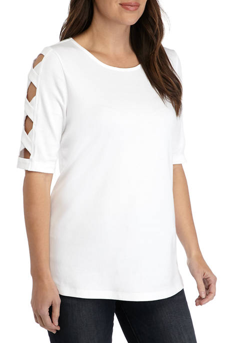Kim Rogers® Womens Ladder Elbow Sleeve Top