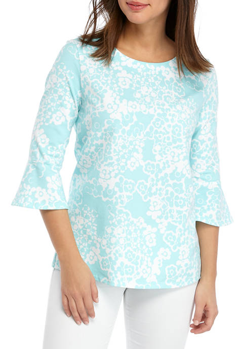 Womens 3/4 Bell Sleeve Print Top