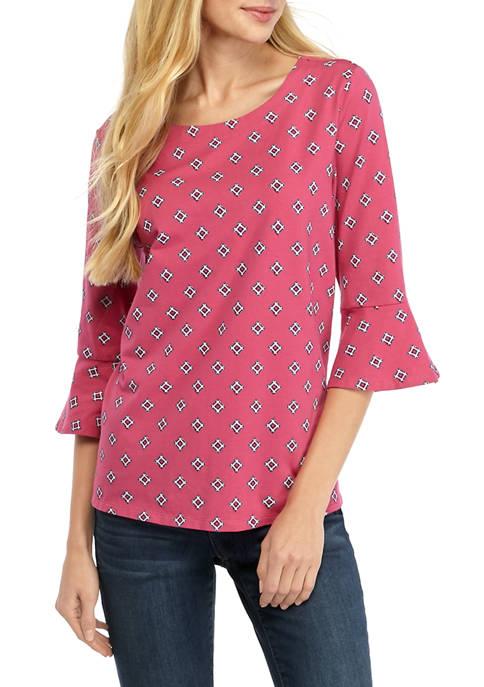 Kim Rogers® Womens 3/4 Bell Sleeve Print Top