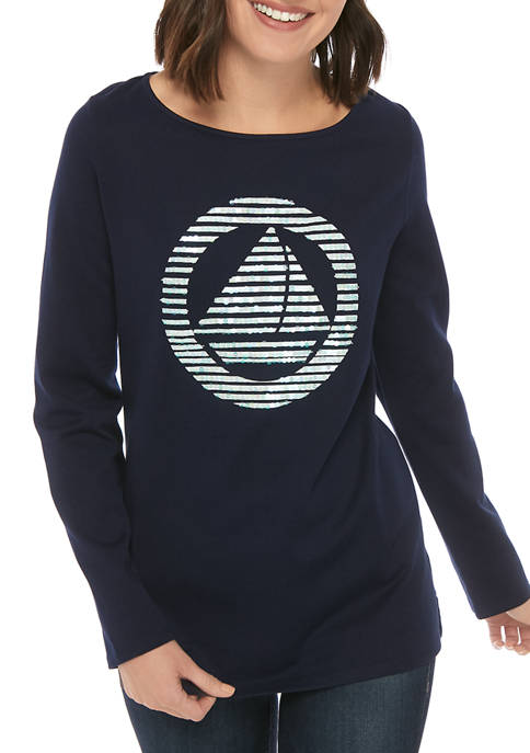 Kim Rogers® Womens Long Sleeve Graphic Tunic Shirt