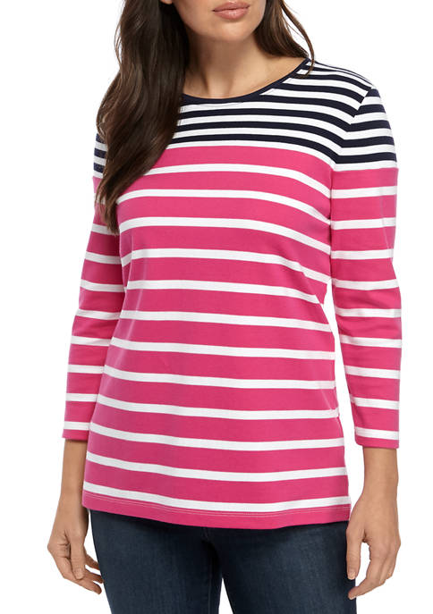 Womens Perfectly Soft 3/4 Sleeve Crew Neck T-Shirt