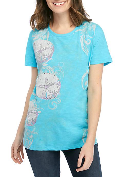 Kim Rogers® Short Sleeve Sand Dollar T Shirt