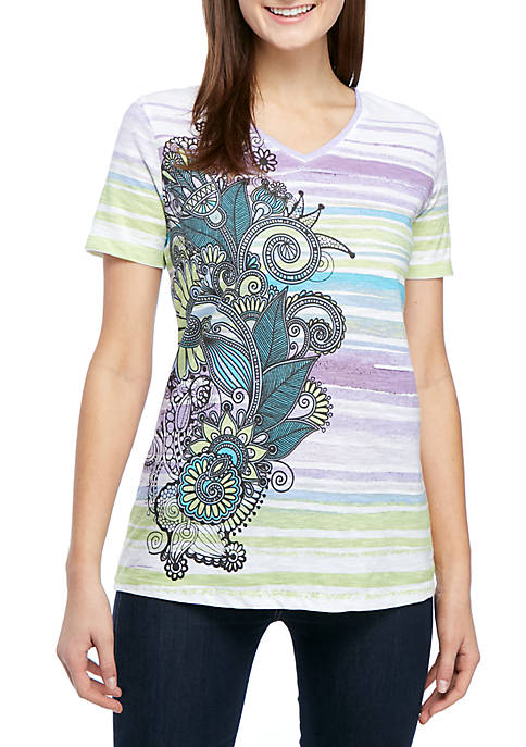 Kim Rogers® Short Sleeve Watercolor Paisley Placement T