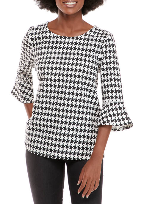 Womens 3/4 Bell Sleeve Houndstooth Top