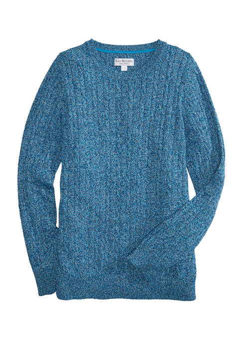 Kim Rogers® Womens Marled Cable Crew Neck Sweater