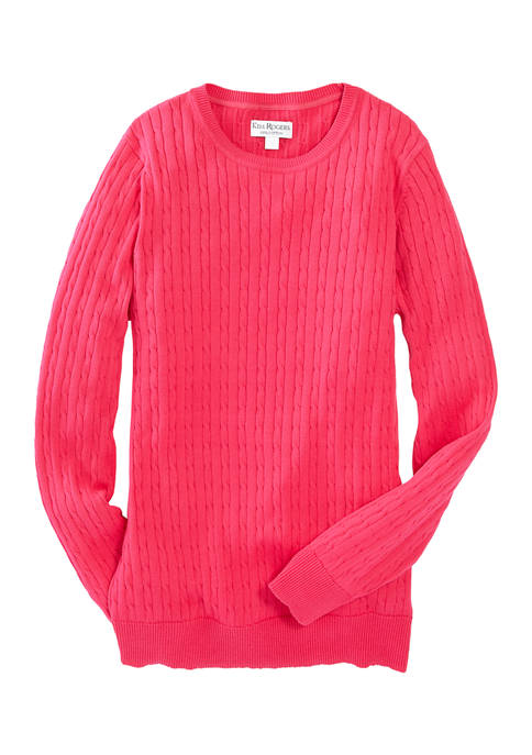 Kim Rogers® Womens Cable Knit Crew Neck Sweater