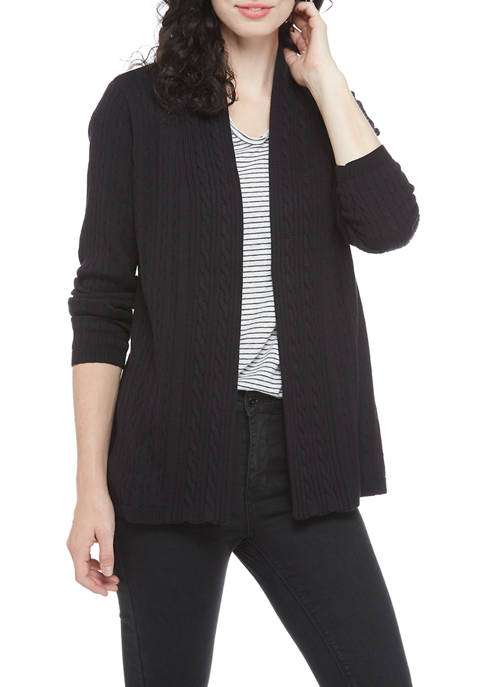 Kim Rogers® Womens Solid Cable Knit Cardigan