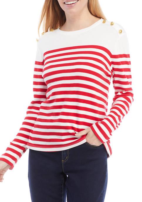 Kim Rogers® Womens Long Sleeve Striped Button Trim