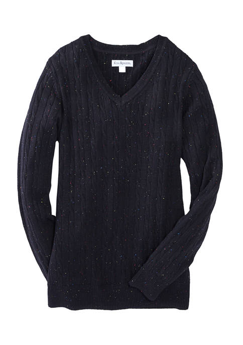 Kim Rogers® Womens Cable Knit V-Neck Sweater
