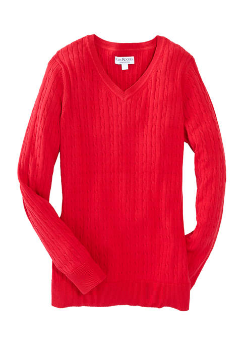 Womens Cable Knit V-Neck Sweater