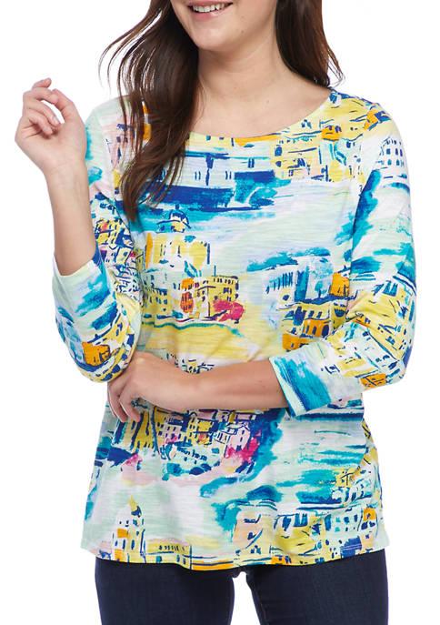 Kim Rogers® Womens 3/4 Sleeve High Low Art